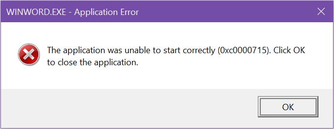 winword.exe application error 2016